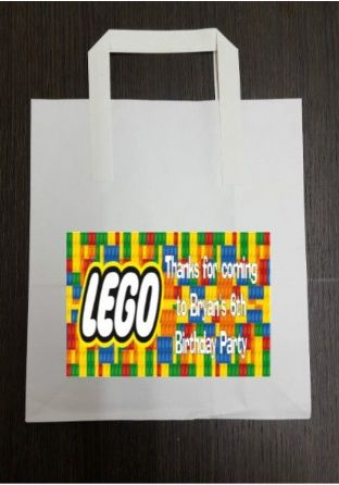 4 x Lego Birthday Party Bags with Personalised Sticker